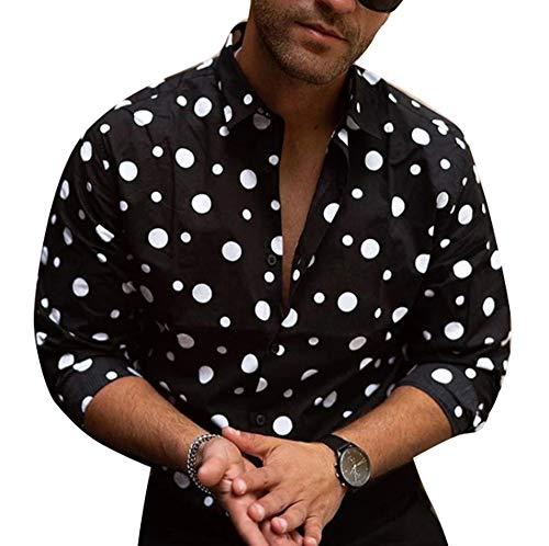 Camisa de Manga Larga con Estampado de Lunares New Wave para Hombre, botón de Cuello Alto