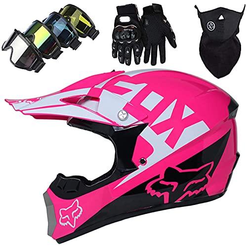 KILCVEM Motocross Helm, Kinder Erwachsene Integral Motorradhelm MX MTB Scooter Downhill Enduro Crosshelm Set mit Handschuhen Brillen Maske - mit Fox Design - S-XL / 52-59cm - Rosa,S