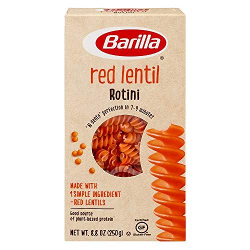 Barilla Red Lentil Pasta, Gluten Free Pasta, Rotini, 8.8 oz (Pack of 10) Plant Based Protein Pasta | Naturally Gluten Free Pasta | Veggie Pasta | Vegan Pasta