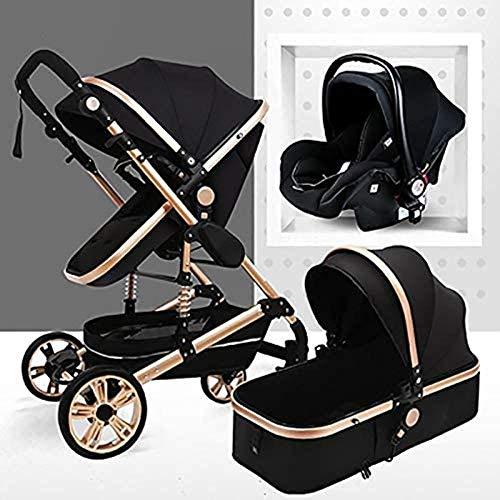 Landaus 3 en 1 Poussette High View Transport Poussette Anti-Shock Baby Basket à Deux Voies du Nouveau-né Travelling bébé Fournitures pour bébé ( Color : Gold Tube-Black )