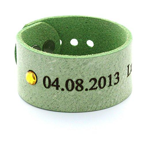 Area17 Mutterschmuck Vollrind Lederarmband Mint mit Geburtsstein - mit Wunsch Gravur - small