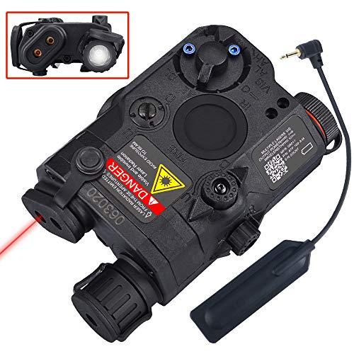 WOSPORT Gun Light Airsoft Tactical PEQ-15 IR Laser Black Battery Box LED White Flashlight+Red Laser Sight with Lenses Upgrade Version for AEG GBB CQB