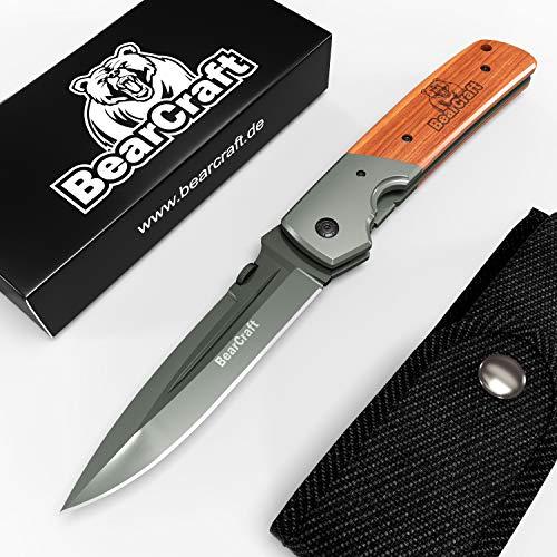 BearCraft Klappmesser Extra Lang mit **GRATIS eBook** | Scharfes Outdoor Survival Taschenmesser | Großes Einhand-Messer mit Titanklinge und Holzgriff | Einsetzbar für Arbeit Wandern Camping