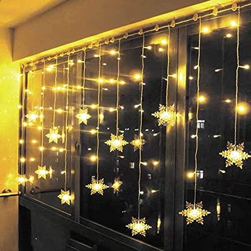 Cortina de Luces, Cadena Luces, Catena Luminosa, Cortina de Luces, LED Guirnaldas luminosas, 3.5M 93Luces LED, 8 Modos de Luz Perfecto para Decoración de Navidad, Fiestas,Casa,Jardín,Blanco Cálido