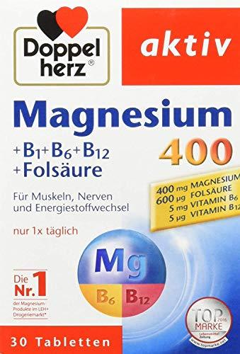Doppelherz Magnesium 400 + B1 + B6 + B12 + Folsäure, 30 Tabletten