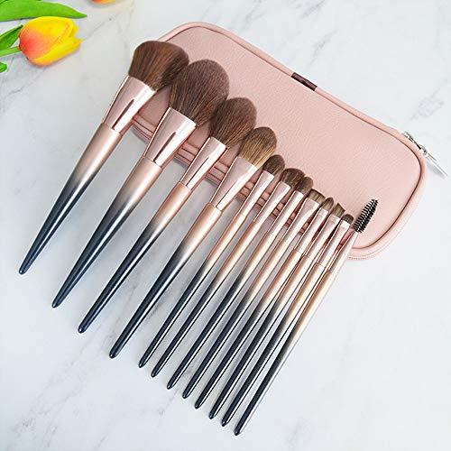 AIZIJI 12 make-up borstel sets, volledige set van schoonheid tools, make-up borstel, borstel pakket, gemengde poederachtige vloeibare crème, gezicht, oogschaduw borstel set