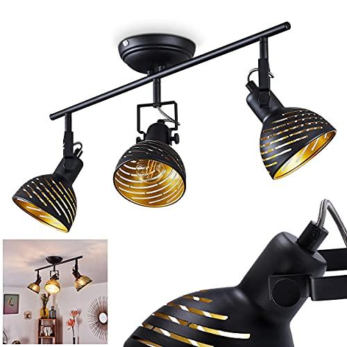 Deckenleuchte Osina, moderne Deckenlampe aus Metall in Schwarz/Goldfarben m. verstellbaren Strahlern, Leuchte im Retro/Vintage-Design mit Lichteffekt, 3-flammig, 3 x E14 max. 40 Watt, LED geeignet