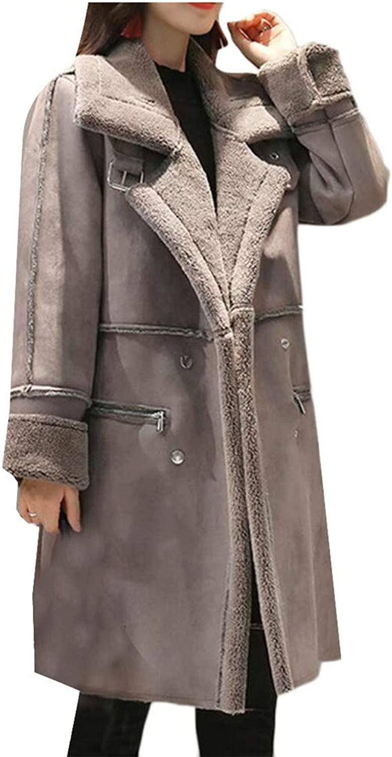 Blyent Women's Padded Faux Fur Lined Double Breasted Suede Lapel Neck Solid Jacket Anoraks Parka Coat