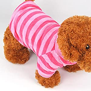 Nibesser Vetements T-shirt pour Chien en Conton avec Rayures Couleur Cute Vivant Pour L'Ete l'hiver Noel Decore pour Animal de Compagnie