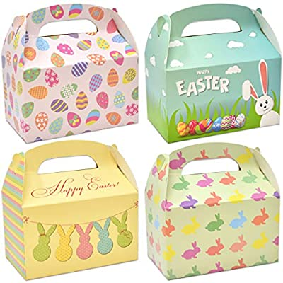 48 Happy Easter Cardboard Treat Boxes Paper Gable Boxes for Kids School Classroom Party Favor Supplies Decor Bunny and Eggs Easter Basket Containers Candy Goody Cookie Box Holder by Gift Boutique