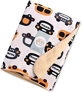 Baby Bucket AC Double Layer Velvet Fleece Newborn Printed Baby Blanket (VEL Cars)