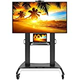 Heavy Duty Universal Rolling TV Stand Mobile TV Cart With Wheels For 60 Inch To 100 Inch Flat Screen, LED, LCD, OLED, Plasma TVs