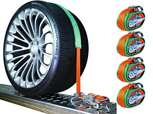 4 x 3000 kg 35 mm Spanngurte Auto Transport PKW Auto Transport Zurrgurte Reifengurte Gurte