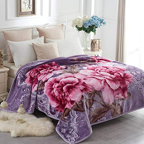JYK Heavy Korean Faux Mink Fleece Blanket, 5 LB - 2 Ply Reversible 520GSM Silky Soft Plush Warm Blanket for Autumn Winter (Queen, Peony/Peony)