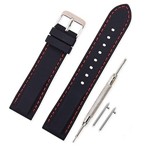 Vinband Cinturino in silicone cinturino caucciù multicolore impermeabile argento fibbia 18, 20, 22, 24 mm - cinturini orologi orologio cinturino (22mm, nero-rosso)