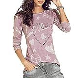 Challeng Shirt Langarm Damen,Shirt Damen Oversize,Shirt Damen Oversize Langarm,Pullover Damen,Frauen Langarm Shirt Casual Bluse Lose Baumwolle Tops T-Shirt (S, Rosa) -