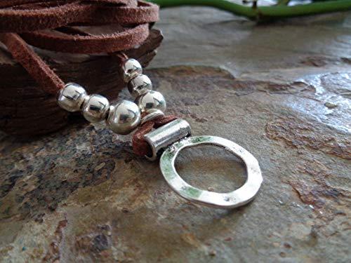 MARRÓN BOHO HAMMERED RING CHOKER envolver collar
