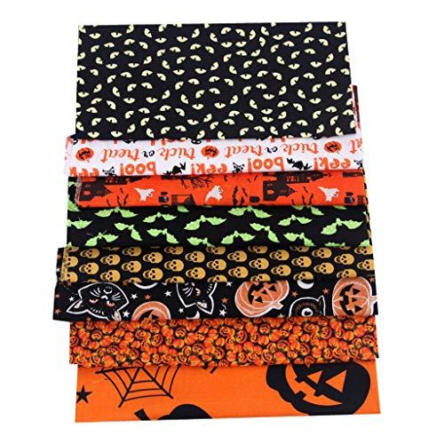 Milageto 8X 20in Tejido de Algodón Acolchado Costura DIY Craft Patchwork Decoraciones de Fiesta de Halloween
