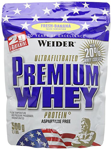 Weider Premium Whey Protein Powder, Fresh Banana, 33g of Protein Per Serving, Low Carb, Whey Protein Isolate, Rich in BCAA's, 500g