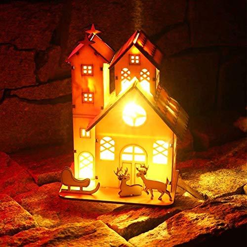 Weihnachten Dekorationen, Beleuchtetes Holzhaus, Rustikales Leuchtendes Licht des Weihnachten 3D Weihnachtsren Hohles Turm Chalet Für Haus Fenster Auto Raum Hotelbar Mall