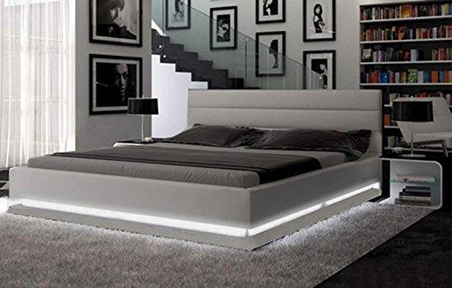 Modern European Design Platform Bed with Multi-Color LED Lighting Queen Size