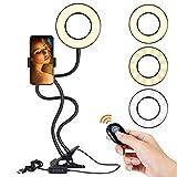 zerproc Anneau de lumière LED 10-Niveau Luminosité 3-Mode d'Éclairage Bras Flexible avec Support Portable et Télécommande...