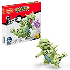Buildable and poseable Tyranitar figure-building set that stands over 6 inches tall Pokemon comes with Rockand Darktype attack details Bricks combine with all Mega Construx building sets and are compatible with other name brands Ideal for ages 6 and ...