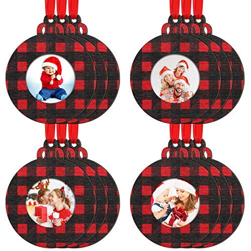 12 Pieces Christmas Wooden Picture Ornaments Bells Photo Ornament Frames Red Buffalo Plaid for Holiday Presents and Tree Decoration