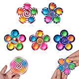 5 Pieces Pop Fidget Spinners Bundle,Bubble Push Squeeze Popper Fidget Sensory Toy Cute Mini Gadget for Kids with ADHD and Autism,Help Anxiety Stress Relief.