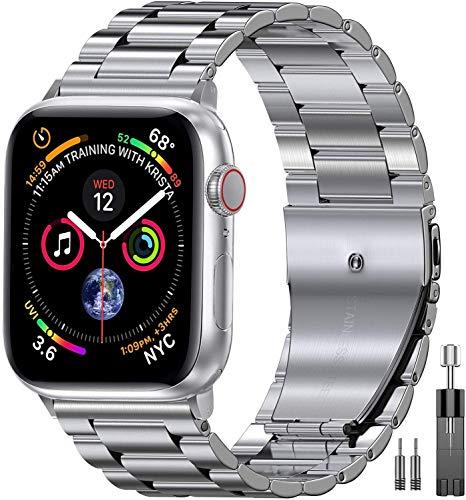 Mediatech Correa de repuesto compatible con Apple Watch, 44 mm, 42 mm, 40 mm, 38 mm, acero inoxidable, con cierre desplegable, compatible con iWatch Series 6/5/4/3/2/1 SE (42 mm/44 mm, plateado)