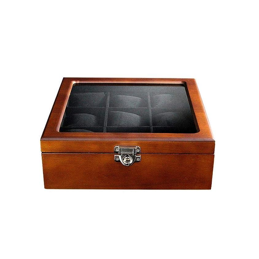 直面する電気陽性打ち上げるLMZ 収納ボックス 9スロット木製時計ディスプレイボックスガラストップジュエリーストレージオーガナイザー