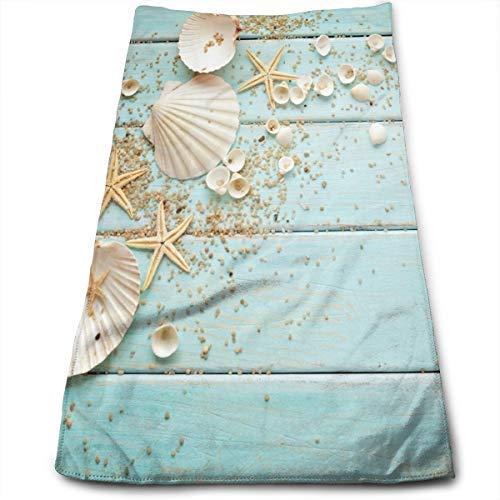 White Seashells Starfish Hand Towel Dish Towels Blue Plank Backdrop Soft Face Towel 27.56 X 11.81 Inch Gym Yoga Hand Towels for Bathroom Decor