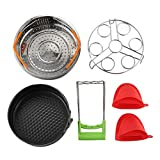 Set de accesorios para ollas instantáneas con cesta de vapor Estante de vapor para huevos Soporte antiadherente para bandejas de Springform Pan 1 par de guantes Silico