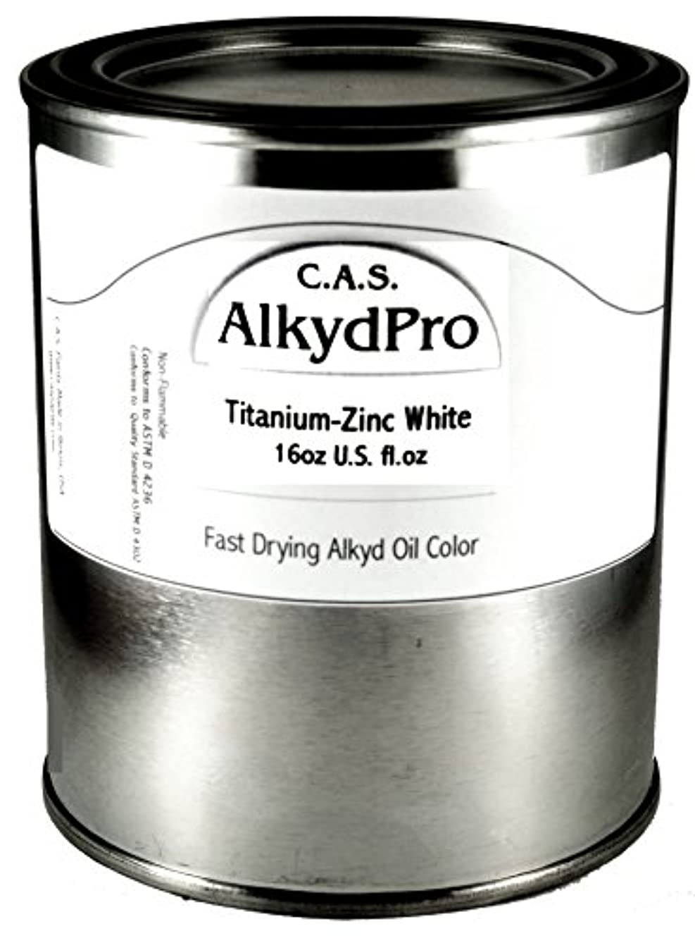 C.A.S. Paints AlkydPro Fast-Drying Oil Color Paint Can, 16-Ounce, Titanium-Zinc White