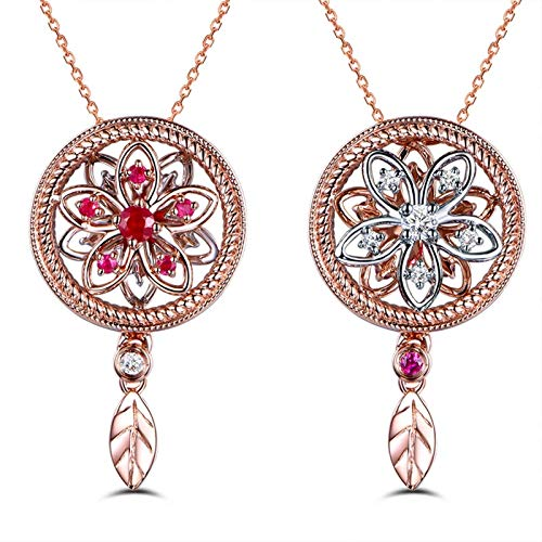 Daesar Colgantes Mujer Oro 18K Blanco Collar Flor Rubí Rojo 0.11ct Diamante Blanco 0.07ct