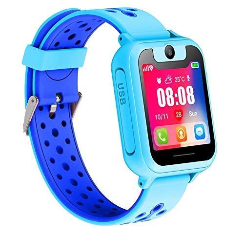 AOYMJRS Kinder Smartwatch,Phone Tracker LBS Kids Smart Watch Telefon Mikro Chat Anruf SOS Wecker Taschenlampe Digitales Spiel,Weihnachten Geburtstagsgeschenke (Blau)