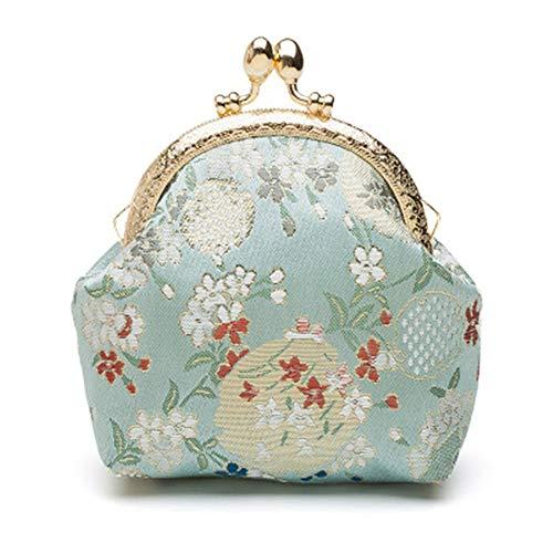 LLUFFY-Clutch Handtasche Handgefertigte Ethno-Stil/Brokatschmieden Schnallenänderung Paket/Frische Münze Stofftasche, 10,5X10X3,5 Cm, Hellblau