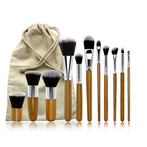 DDFHK Ensemble de pinceaux de maquillage 11 combinaison de sac de toile de lin vert avec poignée en bambou