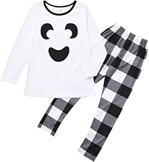 Matching Family Halloween Pajamas Dad Mom Baby Pajamas Sleepwear Homewear Set Top+Plaid Pants