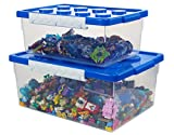 Bins & Things Toy Organizer Set of 2 Large and Small Brick Shaped Storage Containers for Building Brick Storage, Barbie Dolls, hot Wheel, Beyblades, Small Kids Toys - Plastic Kids Toy Chest