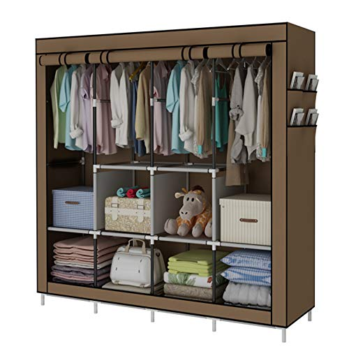 YAYI Portable Wardrobe Clothing Wardrobe Shelves Clothes Storage Organiser With 4 Hanging Rail,Brown