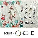 Baby Monats Milestone Decke Jungen und Mädchen - 60x40' Large Size BabyPhoto Decke, Thick-Flanell-Vlies, Ultra Soft, Wachsen Uhren Baby Up Decken beste Geschenk für Baby Shower Geschenk