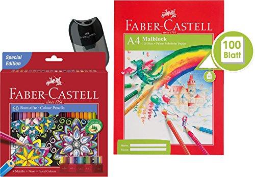 Faber-Castell Buntstift Castle, 60er Kartonetui (60 Stifte + Block + Spitzer)