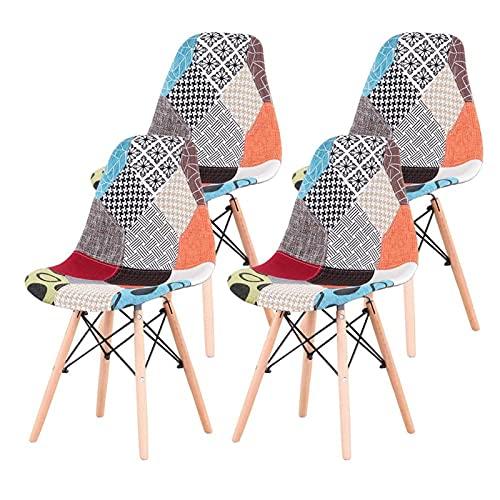 Un Set de 4 sillas de Comedor frabá de Patchwork de Estilo Medieval nórdico, Soporte de Metal de Madera de Haya, Adecuado para Comedor de Cocina 0906 (Color : Red 01)