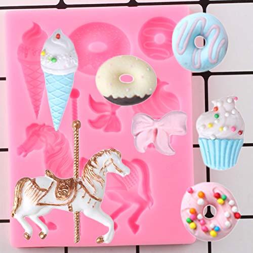 ZZYOU Carousel horse donut silicone mold ice cream bow candy chocolate birthday cake cake topper fondant cake decoration tool