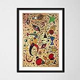 zpbzambm Cuadro En Lienzo 50X70Cm Sin Marco,Joan Miro Surrealismo Moderno Pinturas De Arte Abstracto Imagen Retro Arte Seda Pintura sobre Lienzo Cartel De La Pared Decoración para El Hogar Zp-2885
