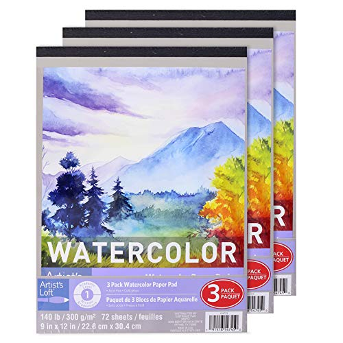 "3 Count 9"" x 12"" Watercolor Paper Pad by Artist's Loft, Watercolor Paper, 140 lb, Thick & Heavy Page Texture"