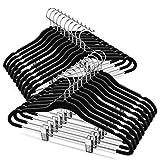 TIMMY Velver Hangers with Clips (20 Pack) Hangers Non Slip Velvet Clothes Hangers,Ultra Thin Pants Hangers,Skirt Hangers with 360°Swivel Hooks(Black)