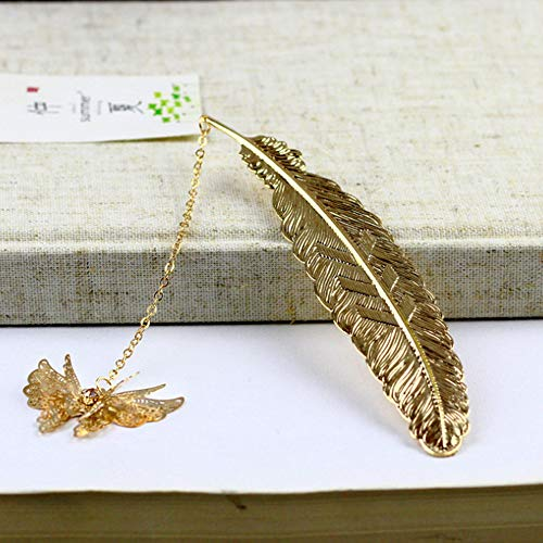 ZKZNsmart Vintage Feather Metal Bookmarks, Unique Bookmark with Gift Box Packaging Best Gift for Book Lover (Golden Butterfly)
