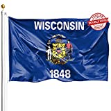 DFLIVE Double Sided Wisconsin State Flag 3x5ft Heavy Duty Polyester 3 Ply WI The Badger State Flags Indoor and Outdoor Use